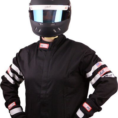 Fire Suit Racing Jacket Black Adult Medium Sfi 3-2A/1 Rjs Racing Rally Car