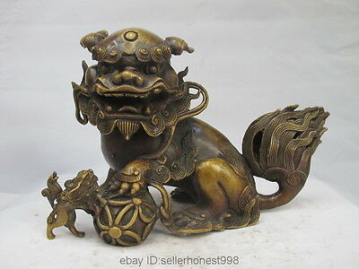 Chinese Feng shui Pure Copper Bronze Fu Foo Dog Lion Kylin Play Ball Statue