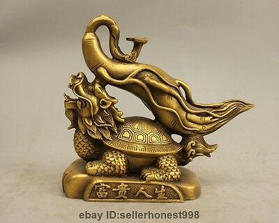 China Feng Shui Bronze Copper Ginseng Dragon turtle Attract Wealth Statue
