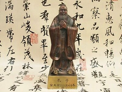 Chinese famous Red Bronze Confucius Kongzi politician educationist Statue