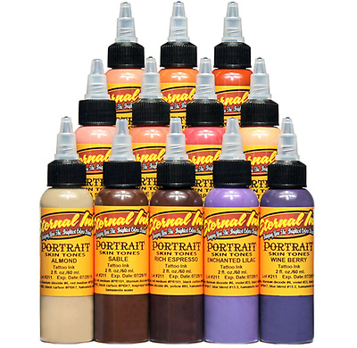 USA Authentic! Eternal Tattoo Ink Portrait Color Set of 16 1oz/30ml Bottles