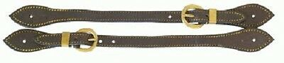 Spur Straps Brown Leather with Edge Stitching  & Brass Buckle & Keeper BNWT