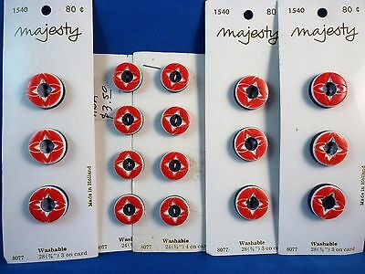 17 Vintage Red, White, and Blue Multi-Layer Special Cut Buttons from Holland