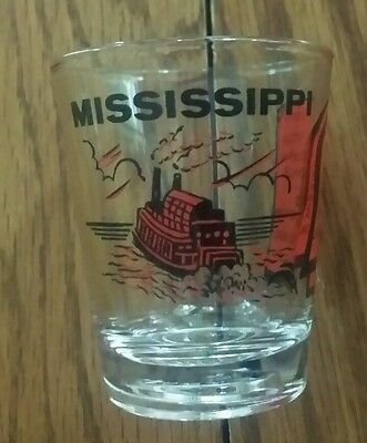 Mississippi Shot Glass Map Of State Paddle Wheeler Red