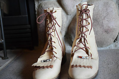 Women's Deerskin Cowboy Boots Size 7 1/2 M with Decorative Beads