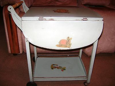 Vintage Amsco Toys TV Snack Tray/Cart...Circus Decals/Light Blue Metal Cart