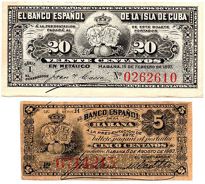 CARIBBEAN  PESOS  LOT OF 2 BILLS 1883 - 5 cents AND 1897 20 cents - VERY RARE