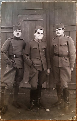 WW I Serbia Real Photo Postcard Showing 3 Serbian Ary Enlisted Men