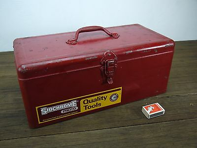 Vintage SIDCHROME Red Steel Tool Box w/ Original Decal Proto Australia Man Cave
