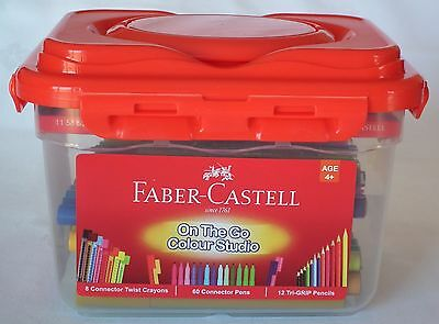 Faber Castell 80pce Colouring Crayons, Connector Pens and Pencil set
