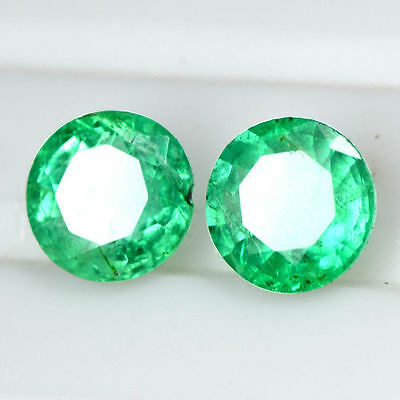 1.53 Cts Natural Emerald Fine Green Loose Gemstone Round Cut pair Zambia 6 mm $