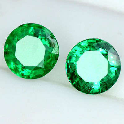 0.57 Cts Natural Top Green Emerald Round Cut Pair Zambia Untreated 4 mm Video $