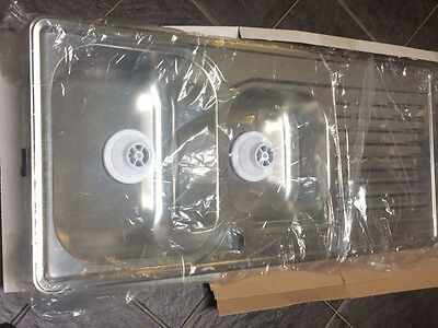New Stainless Steel 1 and 3/4 Bowl Sink 1080 X 480 mm