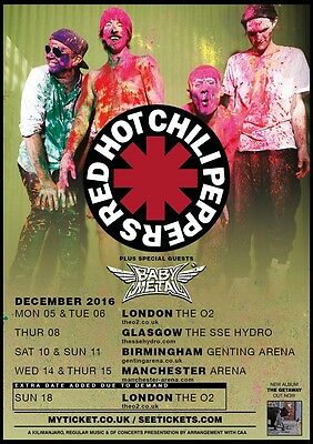 Two Tickets Red Hot Chilli Peppers, 6 December At The O2 (e-tickets)