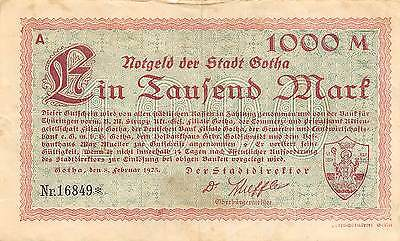 Germany / Gotha  1000 Mark 8.2.1923 Series A Notgeld  circulated Banknote Ger.1