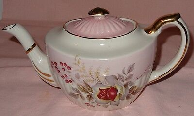 Vintage Gibsons Staffordshire Tea Pot Pink/White /Gold Colour Floral Pattern.