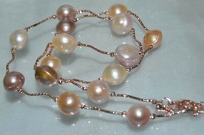 """GORGEOUS! Natural Rare multicolor 15mm Kasumi Pearl Necklace 25""""J9458"""