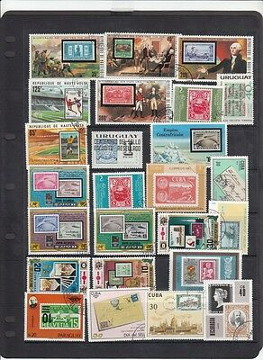 76 Assorted stampa & 2 Minisheets with 'Stamps on Stamps' - FU/CTO - See 4 scans