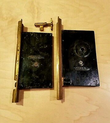 Antique Corbin Double Pocket Sliding Door Lock Lockset Brass