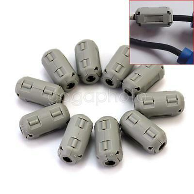 10pcs 5mm Noise Suppressor EMI RFI Clip Choke Ferrite Core Cable Filter Grey