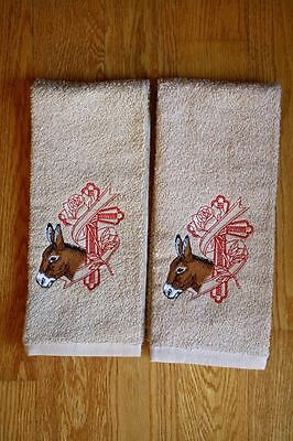 Donkey & Cross Embroidered On 2 Tan Hand/Kitchen Towels
