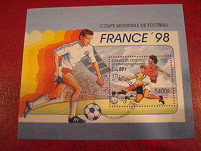 Cambodia - 1998 France World Cup - Minisheet - Unmounted Used - Ex. Condition