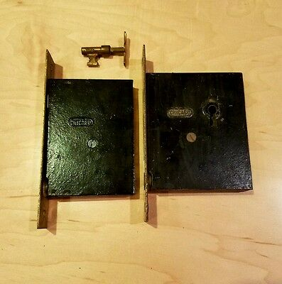 Antique Chicago Double Pocket Sliding Door Lock Lockset Brass