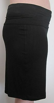 Soft Black Comfortable Knee Length Maternity Skirt fold up waist Size 12 New