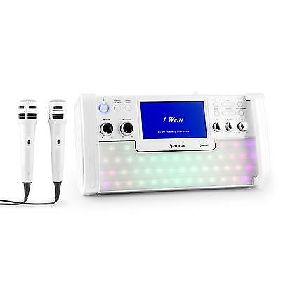 Karaoke Machine Cd Mp3 Stereo Player System Microphone Sing Home Portable White