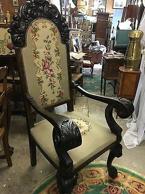 Antique Carved Chair With Needlepoint Upholstery