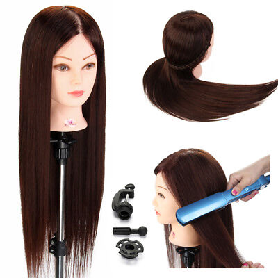NEW STYLE 70% Real Human Hair Training Hairdressing Head Mannequin Doll + Clamp