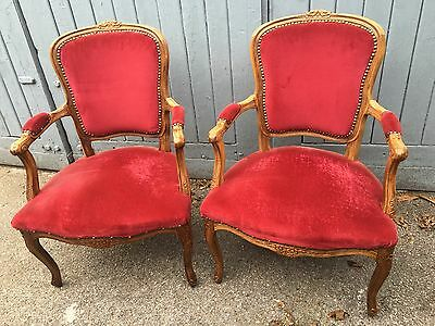 Pair Of French Carved Armchairs For Upholstery Very Pretty