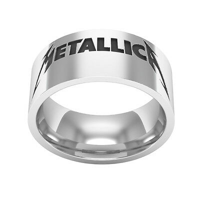 Metallica silver band ring, Metallica 80's Rock and Roll Band Jewelry