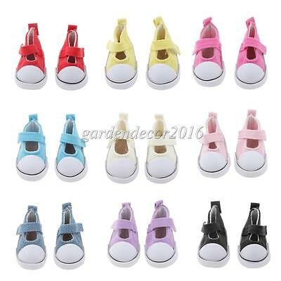 Cute Ankle Strap Flat Mary Jane Canvas Shoes for 1/6 BJD Dolls Clothes Accessory