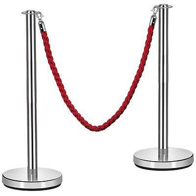 2x Polished Stainless Steel Queue Rope Barrier Posts/ Stands with 1.5m Red Rope