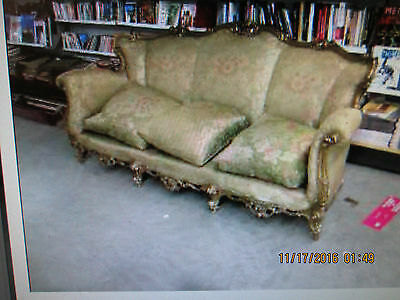 French antique Rococo baroque sofa settee, highly carved all around, 210cm. wide