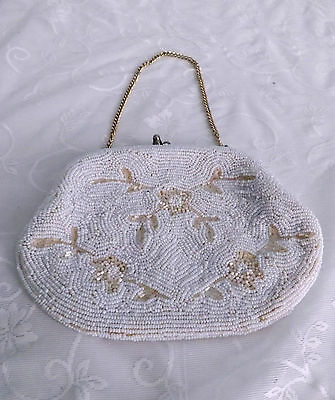 Vintage Beaded Purse Evening Bag Made in Japan 1950's Seed Beading Floral Motif