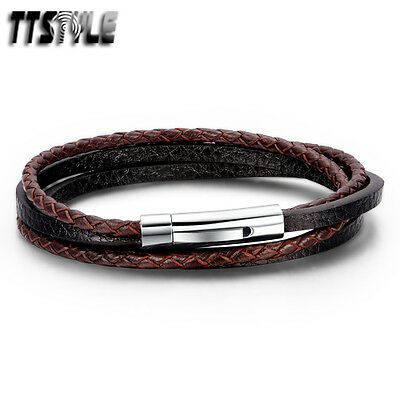 TTstyle Black/Brown Genuine Leather Mixed S.Steel Buckle Double Row Wristband
