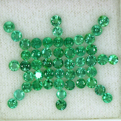 7.58 Cts Natural Top Green Emerald Round Cut Lot Zambia Untreated Loose 3.5 mm $