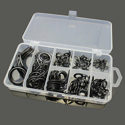 75pcs Stainless Steel Fishing Rod Guide Tip Repair Kit Eye Ring Set With Box