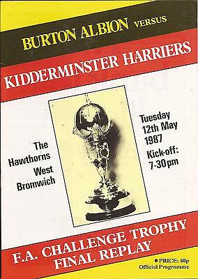 Programme - Burton Albion v Kidderminster - FA Trophy FINAL Replay - 12/5/1987