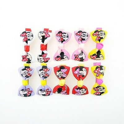 10PCS Minnie Mouse Printed Baby Kids Girls Boutique Hair Clips Bows Grips