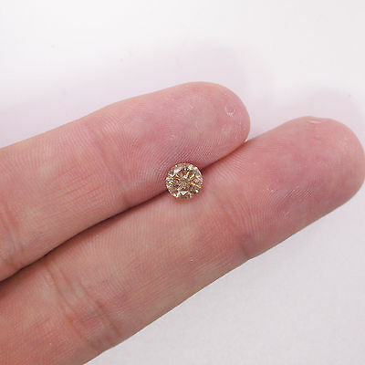 Loose Diamond 1.00 Ct Round Cut Champagne Fancy Color SI3 Clarity Earh Mined
