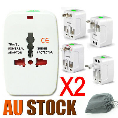 2x World Universal Travel Adapter Wall Plug Power AU US UK EU Australian ON SALE