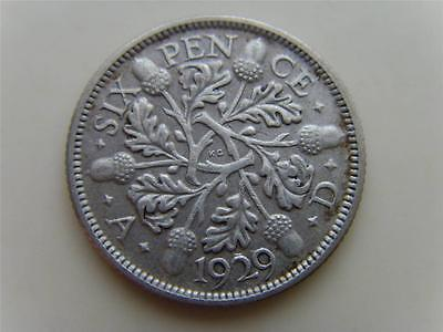 1929 SILVER SIXPENCE 6d KING GEORGE V BRITISH COIN GREAT BRITAIN