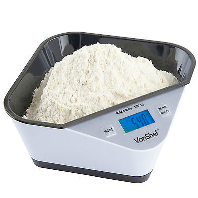 VonShef High Precision 5KG Digital Electronic LCD Kitchen Food Weighing Scales