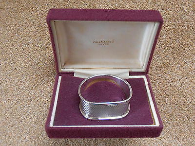 Vintage Sterling Silver Napkin Ring in Case, Broadway & Co Birmingham 1978