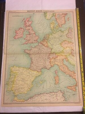 Old Map For Framing Western Europe Communications Times Atlas 1922 Large