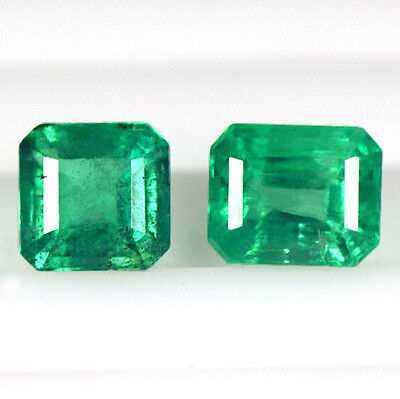 1.32 Cts Natural Lustrous Green Emerald Octagon Cut 2 Pcs Lot Untreated Zambia $
