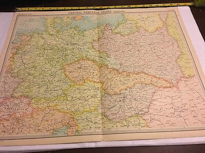 Old Map For Framing Central European States Political Times Atlas 1922 Large